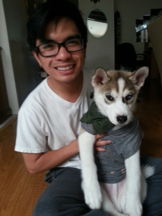 First day home, I threw a shirt on him